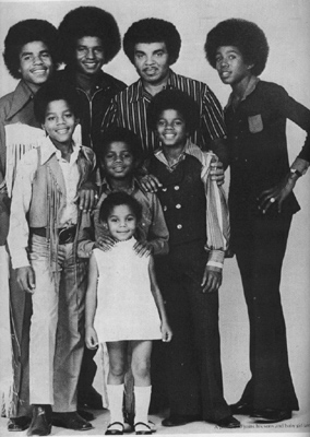 clockwise from bottom: Janet, Randy, Marlon, Tito, Jackie, father Joseph, Jeremaine, Michael